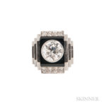 Art Deco Platinum, Diamond, and Onyx Ring, Rene Boivin (Lot 105, Estimate: $10,000-15,000)