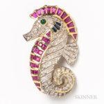 18kt Gold, Diamond, Ruby, Sapphire, and Emerald Seahorse (Lot 2025, Estimate: $300-500)