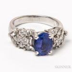 Platinum, Tanzanite, and Diamond Ring  (Lot 2043, Estimate: $600-800)