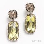 David Yurman Sterling Silver and Lemon Citrine Earrings (Lot 2112, Estimate: $300-500)