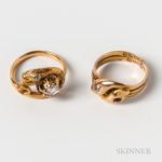 Two Gold Gem-set Snake Rings (Lot 2152, Estimate: $300-500