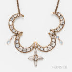 Antique 9kt Gold and Moonstone Crescent Necklace (Lot 2227, Estimate: $150-250)