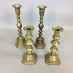 Two Pairs of English Brass Candlesticks (Lot 1206, Estimate: $150-250)