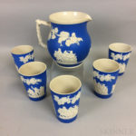 Five Copeland Spode Jasper Cups and a Pitcher (Lot 1207, Estimate: $250-350)