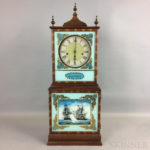 Federal-style Mahogany and Reverse-painted Aaron Willard Reproduction Shelf Clock (Lot 1305, Estimate: $300-500)