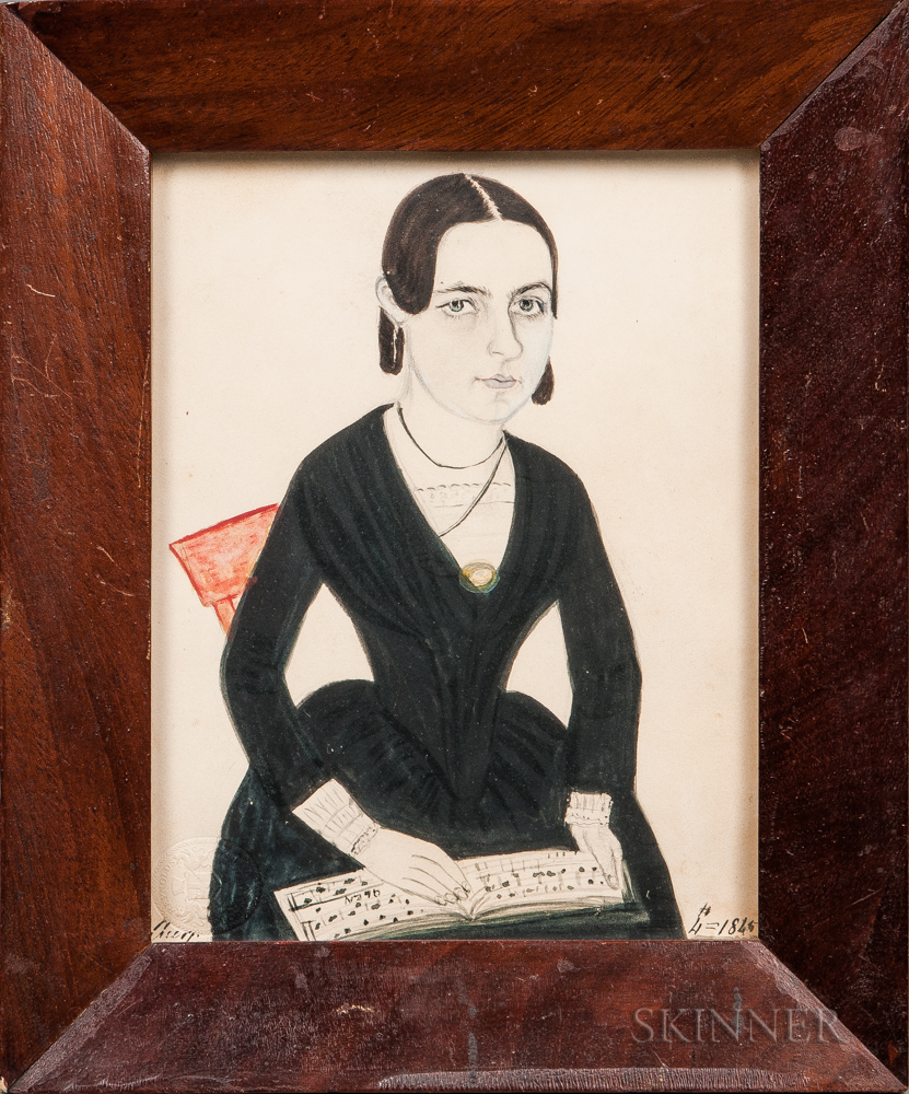 Jane A. Davis (Connecticut/Rhode Island, 1821-1855), Portrait of a Woman with Sheet Music (Lot 264, Estimate: $3,000-$5,000)