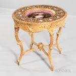 Giltwood Center Table with Porcelain Plaques (Lot 402, Estimate: $6,000-8,000)