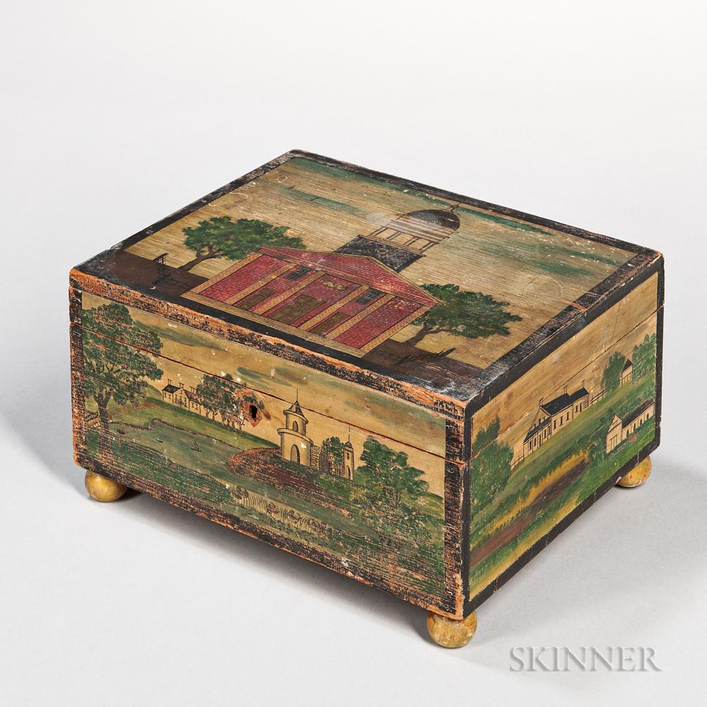 Paint-decorated Pine Box, Charlestown, Massachusetts, 1833 (Lot 679, Estimate: $3,000-$5,000)