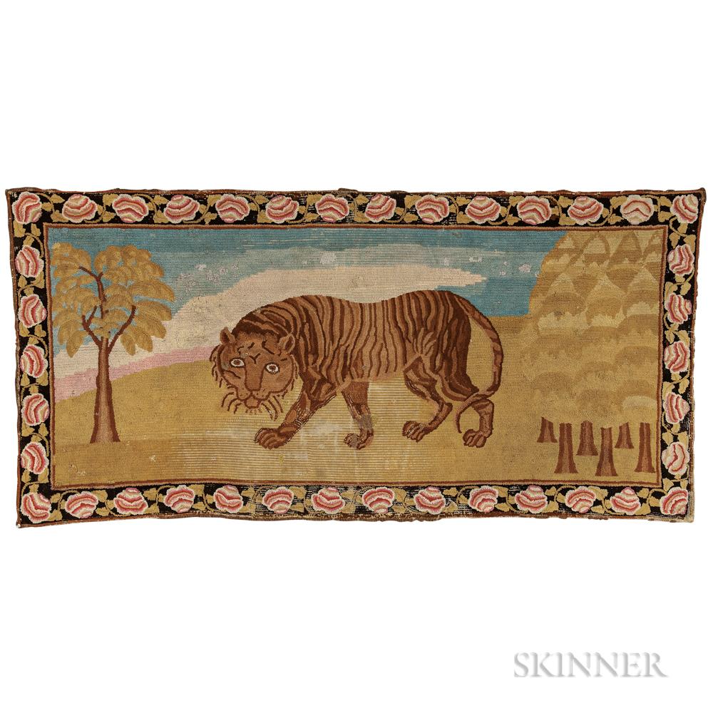 Yarn-sewn Tiger Rug, 19th century (Lot 655, Estimate: $2,000-$3,000)
