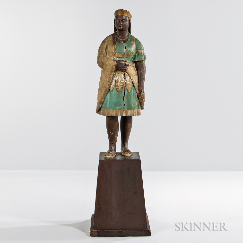 Carved and Painted Indian Maiden Tobacconist Figure, attributed to Samuel Robb, New York, late 19th century (Lot 910, Estimate: $15,000-$15,000)