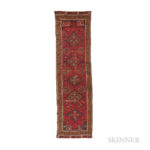 Early Konya Long Rug, central Turkey, c. 17th/18th century, 13 ft. 5 in. x 3 ft. 8 in. Provenance:  The Ronnie Newman Collection of Early Rugs. (Lot 77, Estimate: $4,000-5,000)