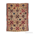 Konya Yastik, central Turkey, 18th century, 2 ft. 8 in. x 2 ft.  Provenance:  The Ronnie Newman Collection of Early Rugs. (Lot 163, Estimate: $2,000-3,000)