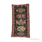 Kuba Soumak Panel, Caucasus, c. 1870, 2 ft. 11 in. x 1 ft. 7 in.  Provenance:  The Ronnie Newman Collection of Early Rugs. (Lot 14, Estimate: $800-1,200)