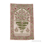 Mughal Embroidered Prayer Rug, India, c. 1800 or earlier, silk on cotton, 3 ft. 9 in. x 2 ft. 7 in. (Lot 115, Estimate: $1,200-1,500)