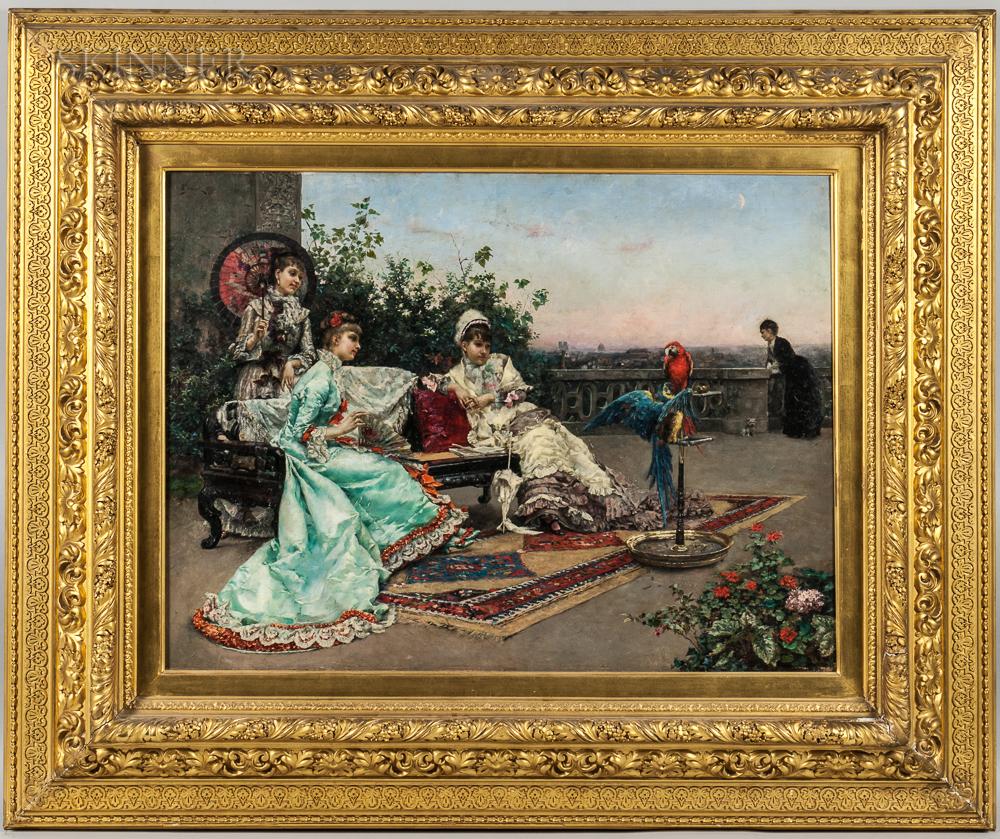 Julius LeBlanc Stewart (American, 1855-1919), Twilight on the Terrace, Paris (Lot 219, Estimate: $150,000-250,000)