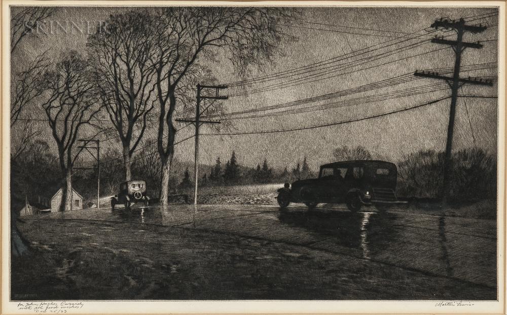 Martin Lewis (American, 1881-1962) Wet Night, Route 6, 1933 (Lot 33, Estimate: $6,000-8,000)