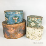 Four Wallpaper-covered Bentwood Boxes (Lot 197, Estimate: $400-600)