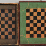 Two Polychrome Painted Pine Checkers Game Boards (Lot 297, Estimate: $300-500)