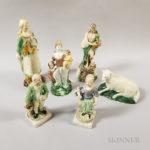 Six Ralph Wood-type Staffordshire Ceramic Figures (Lot 469, Estimate: $500-700)