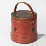 Red-painted and Star-decorated Lidded Pail, 19th century (Lot 1333, Estimate: $300-500)