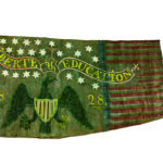"Two-sided Painted ""Liberty & Education"" Banner, probably decorated by George Willmarth (1792-1878), Addison, Vermont, dated 1828 (Lot 285, Estimate: $8,000-12,000)"