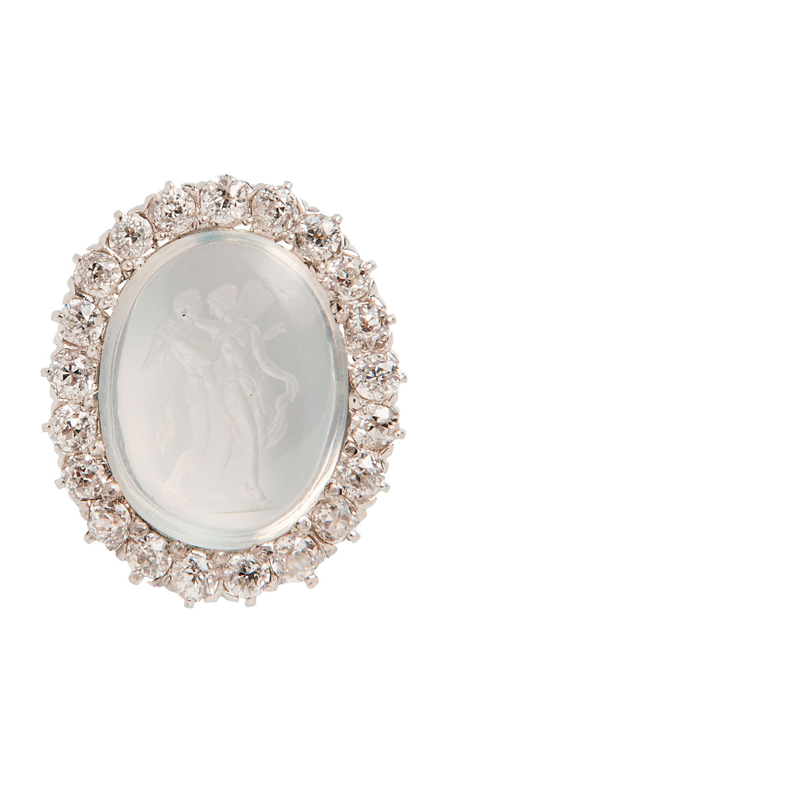 Edwardian Moonstone and Diamond Pendant