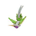 Fine Edwardian Demantoid Garnet, Ruby, and Diamond Bird Brooch (Lot 124, Estimate: $3,000-5,000)