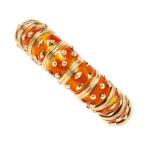"""18kt Gold and Enamel """"Dot Losange"""" Bracelet, Schlumberger, Tiffany & Co., France (Lot 236, Estimate: $18,000-22,000)"""