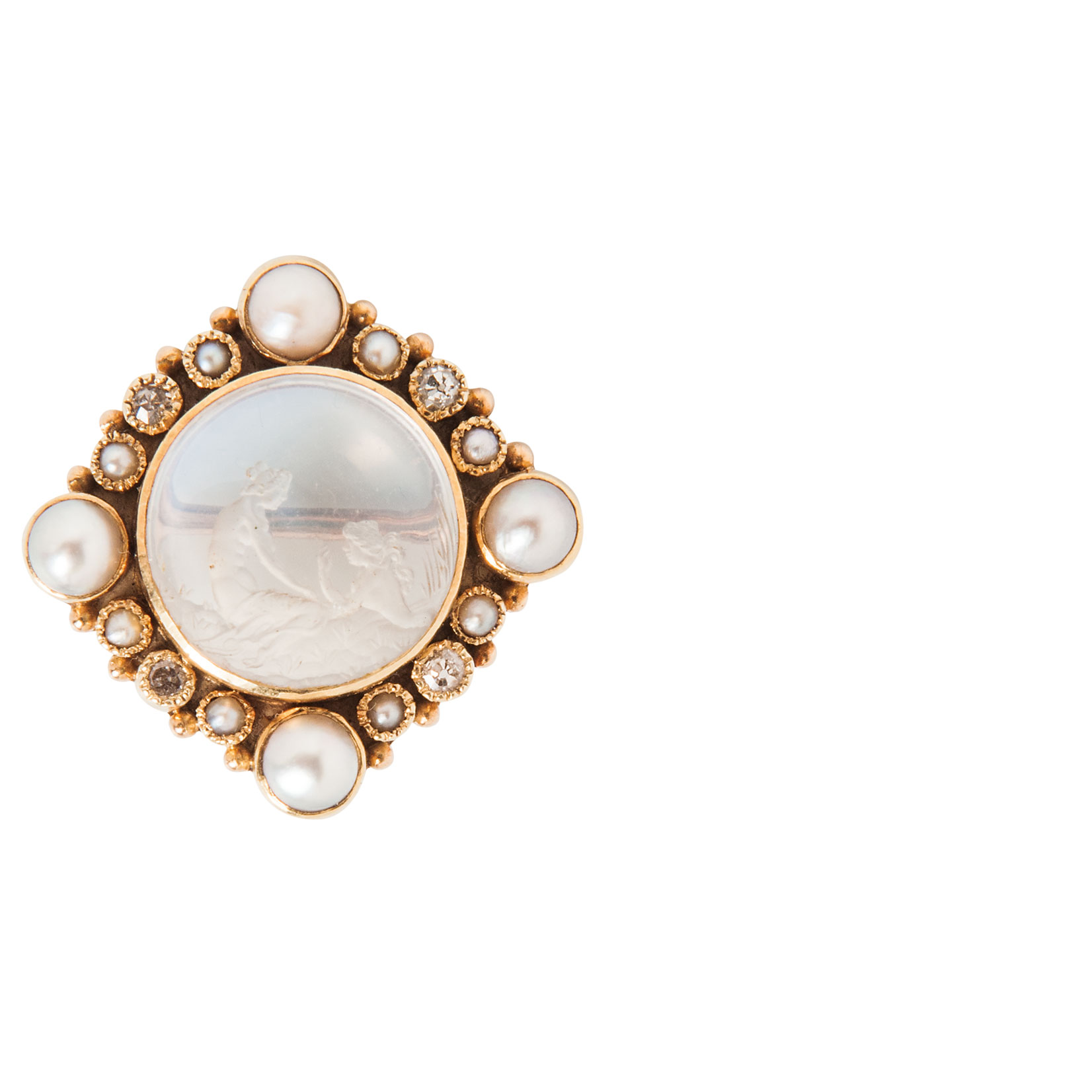 Arts and Crafts Gold and Moonstone Intaglio Brooch