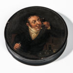 Polychrome Painted Papier-mache Snuff Box with a Wine Patron (Lot 1027, Estimate: $150-250)