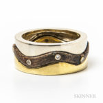 Tiffany & Co. 18kt Bicolor Gold, Wood, and Diamond Ring (Lot 2025, Estimate: $300-500)