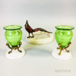 Pair of Bronze-mounted Green Cut Glass Urns and a Cold-painted Bronze Rooster and Marble Ashtray (Lot 1128, Estimate: $250-350)