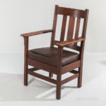 J.M. Young Arts and Crafts Oak Mission Armchair (Lot 1333, Estimate: $200-250)