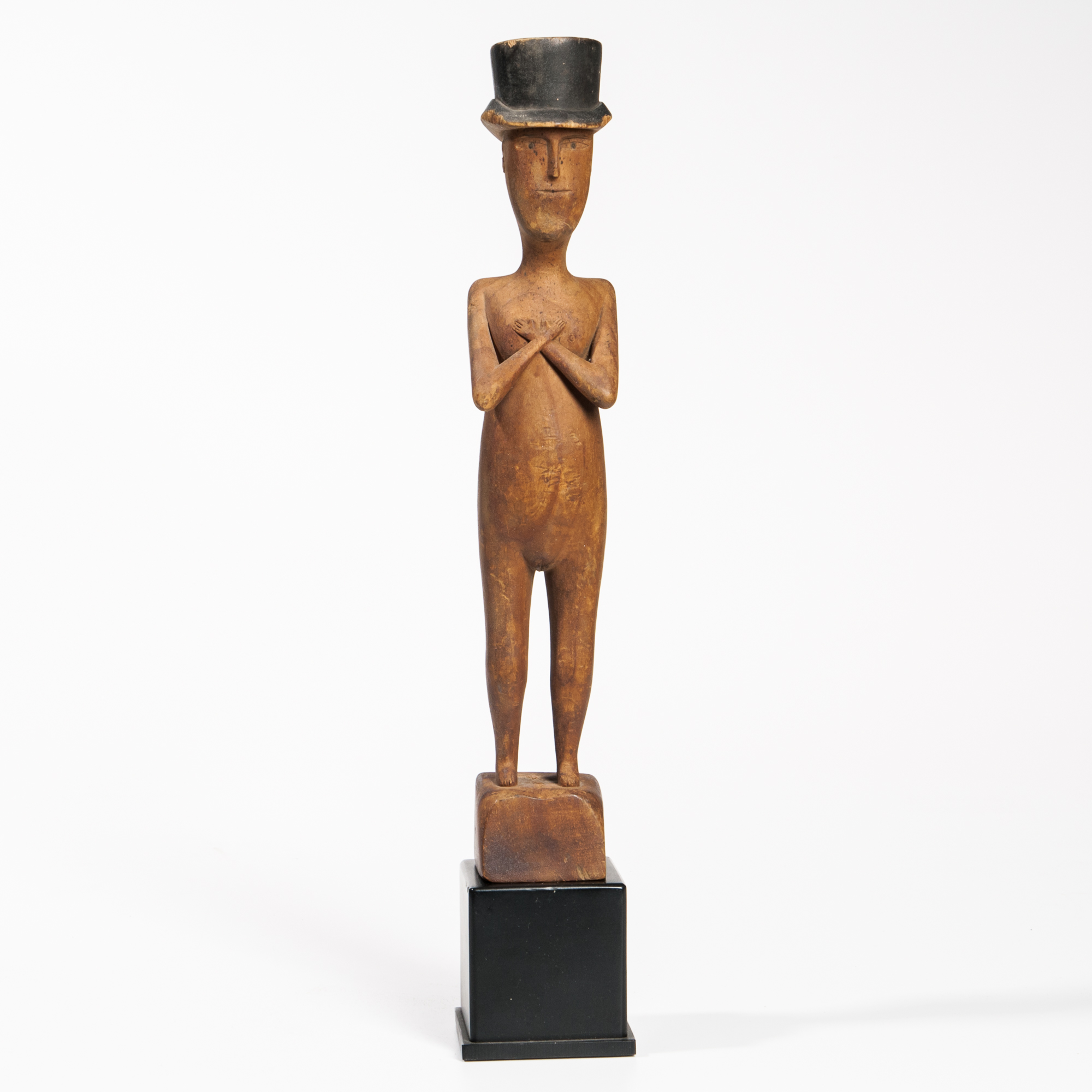 Carved Androgynous Figure in a Top Hat, America, c. 1869-70 (Lot 9, Estimate: $8,000-12,000)