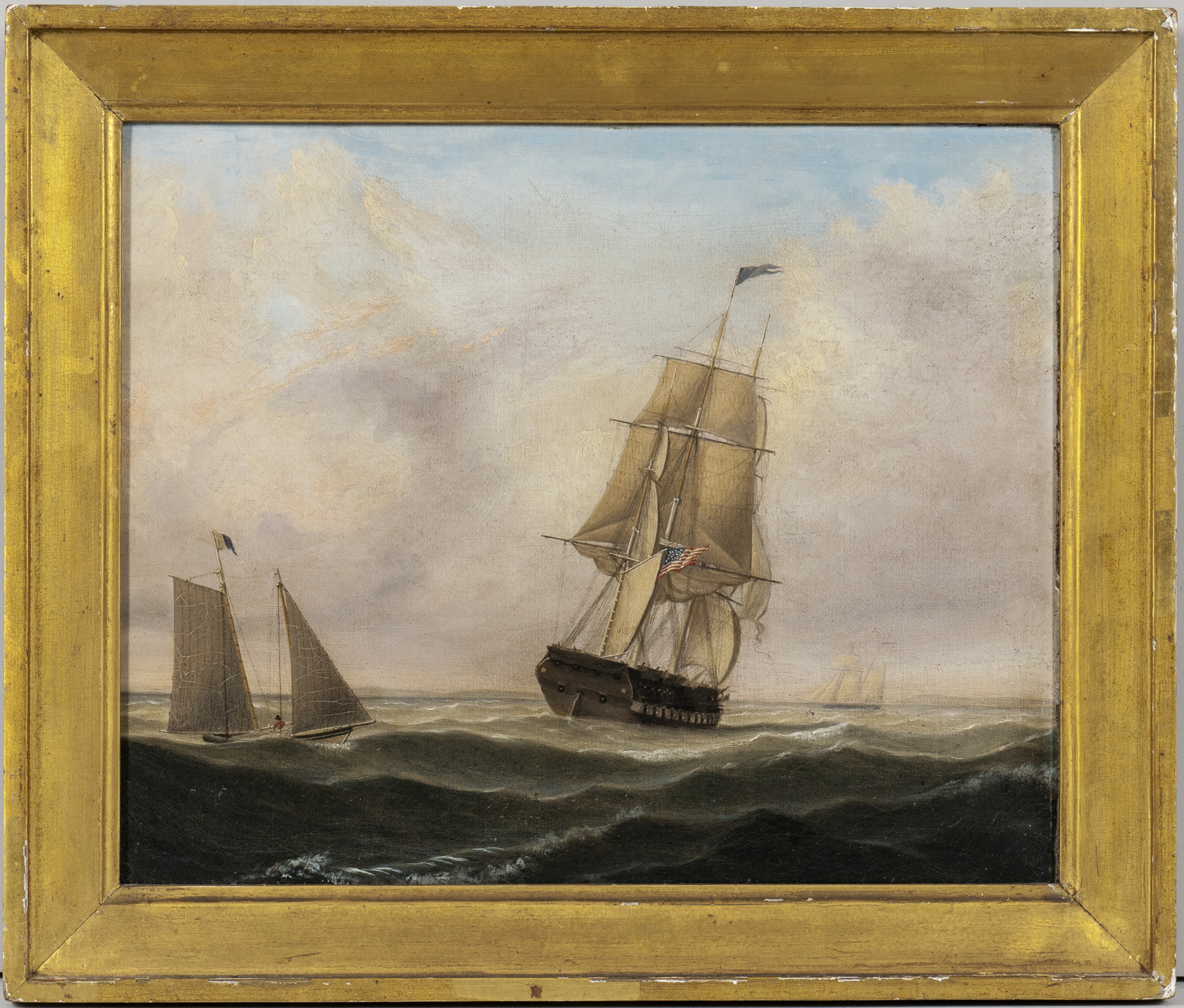Fitz Henry Lane (Massachusetts, 1804-1865) Pair of Pendant Portraits of a Pilot Boat Alongside a Large Frigate (Lot 260, Estimate: $150,000-250,000)