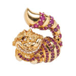 "18kt Gold, Ruby, and Diamond ""Cheshire Cat"" Brooch, Disney (Lot 1349, Estimate: $1,000-1,500)"