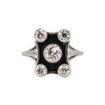 Art Deco Platinum, Diamond, and Onyx Ring (Lot 1068, Estimate: $1,000-1,500)