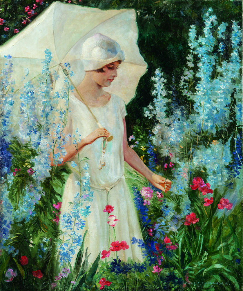 Charles Courtney Curran (American, 1861-1942) Delphiniums Blue - No. 2, oil on canvas (Estimate: $50,000-70,000)
