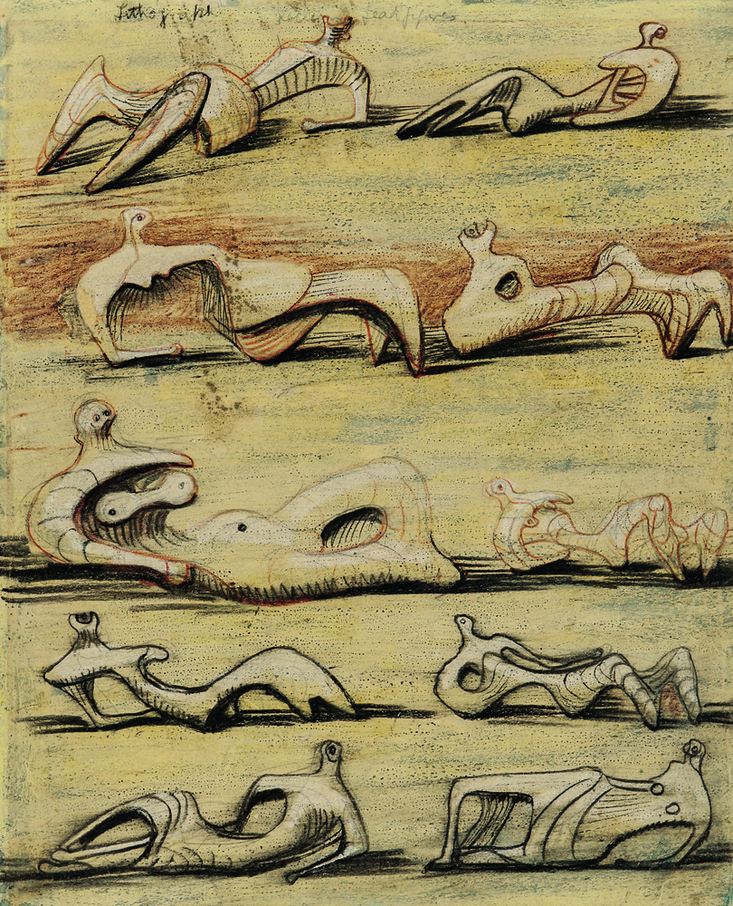 Henry Moore (British, 1898-1986), Reclining Figures, Unsigned, inscribed