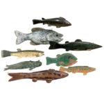 Eight Painted Wood Ice Fishing Decoys (Lot 290, Estimate: $300-500)