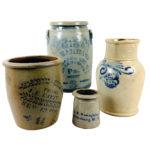 Four Cobalt-decorated Stoneware Vessels (Lot 215, Estimate: $250-350)