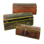 Three Small Paint-decorated Pine and Poplar Dome-top Boxes (Lot 295, Estimate: $200-300)