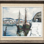 Otis Pierce Cook, Two Vessels at a Snowy Wharf (Lot 1161, Estimate: $600-800)