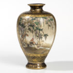 Blue-ground Kyoto Kinkozan Satsuma Vase, Japan, late 19th century (Lot 245, Estimate: $300-500)