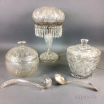 Two Colorless Cut Glass Punch Bowls and a Lamp (Lot 1432, Estimate: $20-200)
