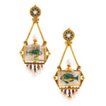 Antique Gold and Reverse-painted Crystal Aquarium Earpendants, c. 1870s (Lot 5, Estimate: $6,000-8,000)