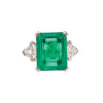 Platinum, Emerald, and Diamond Ring, J.E. Caldwell & Co., c. 1940s (Lot 41, Estimate: $30,000-50,000)