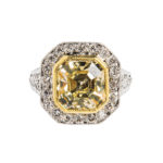 Art Deco Platinum and Colored Diamond Solitaire (Lot 48, Estimate: $35,000-45,000)