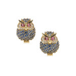 18kt Gold Gem-set Owl Earclips, Jean Vitau (Lot 1214, Estimate: $1,500-2,000)