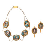 Antique Gold and Miniature Portrait Necklace and Earrings (Lot 1064, Estimate: $1,000-1,500)